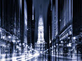 Urban Stretch Series - City Hall and Avenue of the Arts by Night - Philadelphia - Pennsylvania Photographic Print by Philippe Hugonnard