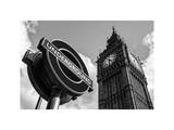 Big Ben and Westminster Station Underground - Subway Station Sign - City of London - UK - England Photographic Print by Philippe Hugonnard