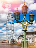 Royal Lamppost UK and London Eye - Millennium Wheel and River Thames - City of London - UK Photographic Print by Philippe Hugonnard