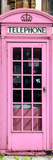 Red Phone Booth painted Pink in London - City of London - UK - England - Photography Door Poster Photographic Print by Philippe Hugonnard