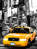 NYC Yellow Taxis / Cabs in Times Square by Night - Manhattan - New York City - United States Fotografisk tryk af Philippe Hugonnard