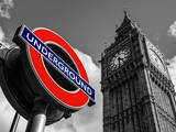 Big Ben and Westminster Station Underground - Subway Station Sign - City of London - UK - England Fotografiskt tryck av Philippe Hugonnard