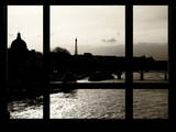 Window View - Color Sunset in Paris with the Eiffel Tower and the Seine River - France - Europe Photographic Print by Philippe Hugonnard