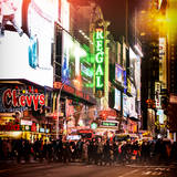 Instants of NY Series - Times Square Urban Scene by Night - Manhattan - New York - United States Photographic Print by Philippe Hugonnard
