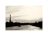 Barge on the River Seine with Views of the Eiffel Tower and Alexandre III Bridge - Paris - France Photographic Print by Philippe Hugonnard