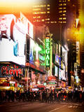 Instants of NY Series - Times Square Urban Scene by Night - Manhattan - New York City Photographic Print by Philippe Hugonnard