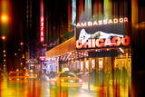 Wall Mural - Urban Stretch Series - Yellow Taxi of Times Square by Night - Manhattan - New York Photographic Print by Philippe Hugonnard