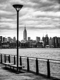 View of the Skyscrapers of Manhattan with the Empire State Building a Jetty in Brooklyn at Sunset Photographic Print by Philippe Hugonnard