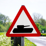 Road Sign - Milatary Vehicles (Tank) - UK - England - United Kingdom - Europe Photographic Print by Philippe Hugonnard