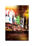 Instants of NY Series - Times Square Urban Scene by Night - Manhattan - New York Photographic Print by Philippe Hugonnard