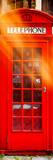 Red Phone Booth in London - City of London - UK - England - United Kingdom - Europe - Door Poster Photographic Print by Philippe Hugonnard