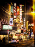 Instants of NY Series - The Booth Theatre at Broadway - Urban Street Scene by Night with a NYPD Photographie par Philippe Hugonnard