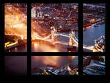 Window View of City of London with the Tower Bridge at Night - River Thames - London - England Photographic Print by Philippe Hugonnard