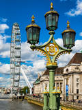Royal Lamppost UK and London Eye - Millennium Wheel - London - UK - England - United Kingdom Photographic Print by Philippe Hugonnard