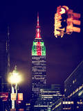 Instants of NY Series - NYC Urban Street Scene - The Empire State Building with a Red Light Photographic Print by Philippe Hugonnard