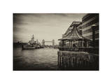 The River Thames View with the HMS Belfast and the Tower Bridge - City of London - UK - England Photographic Print by Philippe Hugonnard