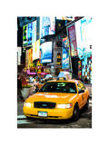 NYC Yellow Taxis / Cabs in Times Square by Night - Manhattan - New York Photographic Print by Philippe Hugonnard