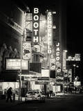The Booth Theatre at Broadway - Urban Street Scene by Night with a NYPD Police Car - Manhattan Photographie par Philippe Hugonnard