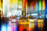 Urban Stretch Series - Yellow Taxi of Times Square by Night - Manhattan - New York Photographic Print by Philippe Hugonnard