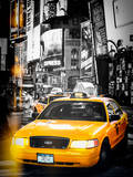 Instants of NY Series - NYC Yellow Taxis / Cabs in Times Square by Night - Manhattan - New York Photographic Print by Philippe Hugonnard
