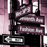 NYC Street Signs in Manhattan by Night - 34th Street, Seventh Avenue and Fashion Avenue Signs Photographic Print by Philippe Hugonnard