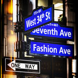 Instants of NY Series - NYC Street Signs in Manhattan by Night - New York Photographic Print by Philippe Hugonnard
