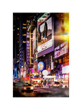 Instants of NY Series - NYC Urban Scene with Yellow Taxis by Night - 42nd Street and Times Square Photographic Print by Philippe Hugonnard