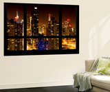 Wall Mural - Window View - Manhattan View with Times Square - New York by Night Wall Mural by Philippe Hugonnard