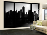 Wall Mural - Window View - Manhattan in Backlight at Sunrise - Times Square - New York Wall Mural – Large by Philippe Hugonnard