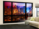 Wall Mural - Window View - Manhattan by Foggy Night - Times Square and Theater District - New York Wall Mural – Large by Philippe Hugonnard