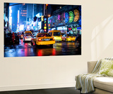 Wall Mural - Manhattan at Night with Yellow Taxis - New York City - USA Wall Mural by Philippe Hugonnard
