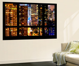 Wall Mural - Window View - Skyscrapers by Night - Times Square - Manhattan - New York City Wall Mural by Philippe Hugonnard