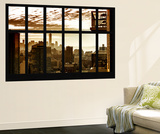 Wall Mural - Window View - Manhattan at Sunset with One World Trade Center - New York Wall Mural by Philippe Hugonnard