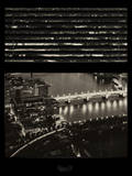 Window View of City of London at Pink-Night - River Thames - London - UK - England Photographic Print by Philippe Hugonnard