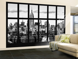 Wall Mural - Window View - Skyline Manhattan with the Empire State Building - New York Wall Mural – Large by Philippe Hugonnard