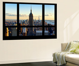 Wall Mural - Window View - Manhattan with the Empire State Building and 1 WTC - New York Wandgemälde von Philippe Hugonnard