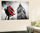 Wall Mural - Westminster Underground Sign - Subway Station Sign - Big Ben - City of London Muurposter van Philippe Hugonnard