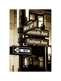 NYC Street Signs in Manhattan by Night - 34th Street, Seventh Avenue and Fashion Avenue Signs Papier Photo par Philippe Hugonnard