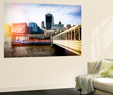 Wall Mural - Jetty of The River Thames View with the Walkie-Talkie - London Wall Mural by Philippe Hugonnard