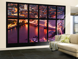 Wall Mural - Window View - City of London with the Tower Bridge at Night - London - UK - England Wall Mural – Large by Philippe Hugonnard