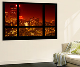 Wall Mural - Window View - Manhattan at Red Night with the New Yorker Hotel Sign - New York Wall Mural by Philippe Hugonnard