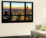 Wall Mural - Window View - Cityscape of Manhattan at Sunset - New York Mural por Philippe Hugonnard