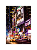 NYC Urban Scene with Yellow Taxis by Night - 42nd Street and Times Square - Manhattan Photographic Print by Philippe Hugonnard