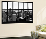 Wall Mural - Window View - Manhattan Skyline with the Empire State Building - New York Reproduction murale par Philippe Hugonnard