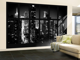 Wall Mural - Window View - Manhattan View with Times Square - New York by Night Wall Mural – Large by Philippe Hugonnard