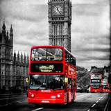 London Red Bus and Big Ben - City of London - UK - England - United Kingdom - Europe Fotoprint van Philippe Hugonnard