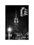 NYC Urban Street Scene - The Empire State Building at Night with a Red Light - Manhattan Photographic Print by Philippe Hugonnard