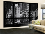 Wall Mural - Window View - Theater District Buildings of Manhattan - New York Wall Mural – Large by Philippe Hugonnard