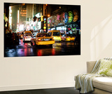 Wall Mural - Manhattan at Night with Yellow Taxis - New York - USA Wall Mural by Philippe Hugonnard