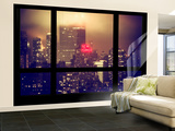Wall Mural - Window View - Manhattan by Foggy Night - The New Yorker Hotel Sign - New York Wall Mural – Large by Philippe Hugonnard